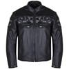 Vance VL535S Men's Black Reflective Skull Leather Biker Motorcycle Riding Jacket