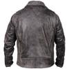 High Mileage HMM517DG Men's Beltless Dual Conceal Carry Distressed Gray Premium Cowhide Leather Biker Motorcycle Jacket - Back View