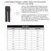 Ladies Top Grain Goatskin Leather Chaps with Grommeted Twill and Lace - Size Chart