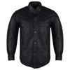 High Mileage HMM504 Men's Concealed Carry Black Premium Cowhide Leather Biker Motorcycle Shirt