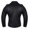 Vance VL516S Black Classic Motorcycle Leather Biker Jacket - Back View