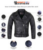 Vance VL516S Black Classic Motorcycle Leather Biker Jacket - Infographics