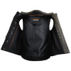 High Mileage HMM914DB Mens Premium Cowhide Distressed Brown SOA Style Biker Club Leather Motorcycle Vest - Inner View