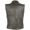 High Mileage HMM914DB Mens Premium Cowhide Distressed Brown SOA Style Biker Club Leather Motorcycle Vest - Back View