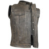 High Mileage HMM914DB Mens Premium Cowhide Distressed Brown SOA Style Biker Club Leather Motorcycle Vest - Zipper View