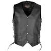 Vance VL902S Mens Black Side Lace Leather Vest
