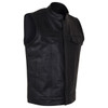 Vance VL914S Men's Black Zipper and Snap Closure Concealed Carry SOA Style Leather Biker Motorcycle Vest - Side View