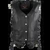 High Mileage HML1040 Womens Black Premium Cowhide Lace Side Biker Leather Vest - Front