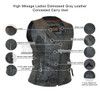 High Mileage HML1037DG Womens Distressed Gray Premium Cowhide Biker Motorcycle Leather Vest With Buckles - Infographics