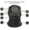 High Mileage HML1038B Womens Black Premium Soft Goatskin Leather Vest With Twill Lace and Grommet Highlights - Infographics