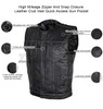 High Mileage HMM919BP Mens Black Paisley Design Liner Premium Cowhide Leather SOA Style Club Vest With Quick Access Conceal Carry Pocket - Infographics