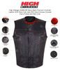 HMM919R Mens Black Premium Cowhide Leather SOA Style Club Vest With Quick Access Conceal Carry Pocket and Red Liner - Infographics