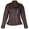 High Mileage HML621VB Women's Vintage Brown Lady Biker Motorcycle Riding Leather Jacket With Diamond Stitched Shoulders