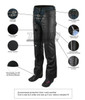 Jafrum LC302 Womens Black Premium Cowhide Low Rise Lady Biker Motorcycle Riding Leather Chaps - Infographics