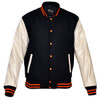 Mens MJ591NW Navy/White Lightweight Wool with Real Leather Premium Varsity Letterman Jacket