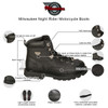 Mens Milwaukee Motorcycle Clothing Company MMCC Night Rider Motorbike Biker Riding Black Leather Boots - Infographics