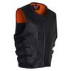 Vance VL904 Mens Black SWAT Team Style Premium Cowhide Biker Motorcycle Leather Vest - Side View