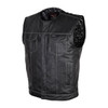 Vance VL919BP Men's Black Premium Cowhide Leather Biker Motorcycle Vest With Quick Access Conceal Carry Pockets and Paisley Liner - Front