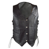 Vance VL1040 Womens Black Lady Biker Leather Motorcycle Vest