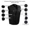 Vance MV122 Mens Black Collarless SOA Style Snap/Zip Front Leather Motorcycle Vest - Infographics