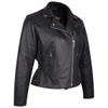 Vance Leather VL615 Women's Black Soft Cowhide Braided and Studded Biker Motorcycle Riding Jacket