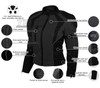 Advance Vance VL1673HG Womens High Visibility Neon All Weather Season CE Armor Mesh Motorcycle Riding Jacket - Infographics
