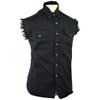 Vance Mens Biker Motorcycle Summer Sleeveless Denim Cut Off Shirt - Black