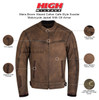 Mens Brown Waxed Cotton Cafe Style Scooter Motorcycle Jacket - Infographics