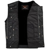 Vance VL919GS Men's Black Premium Cowhide Leather Biker Motorcycle Vest With Quick Access Conceal Carry Pockets and Gray Stitching - Open View