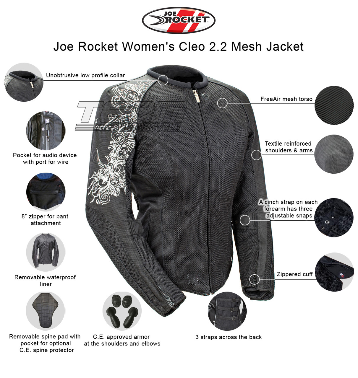 Black//Black, Small Joe Rocket Cleo 2.2 Womens Mesh Motorcycle Riding Jacket