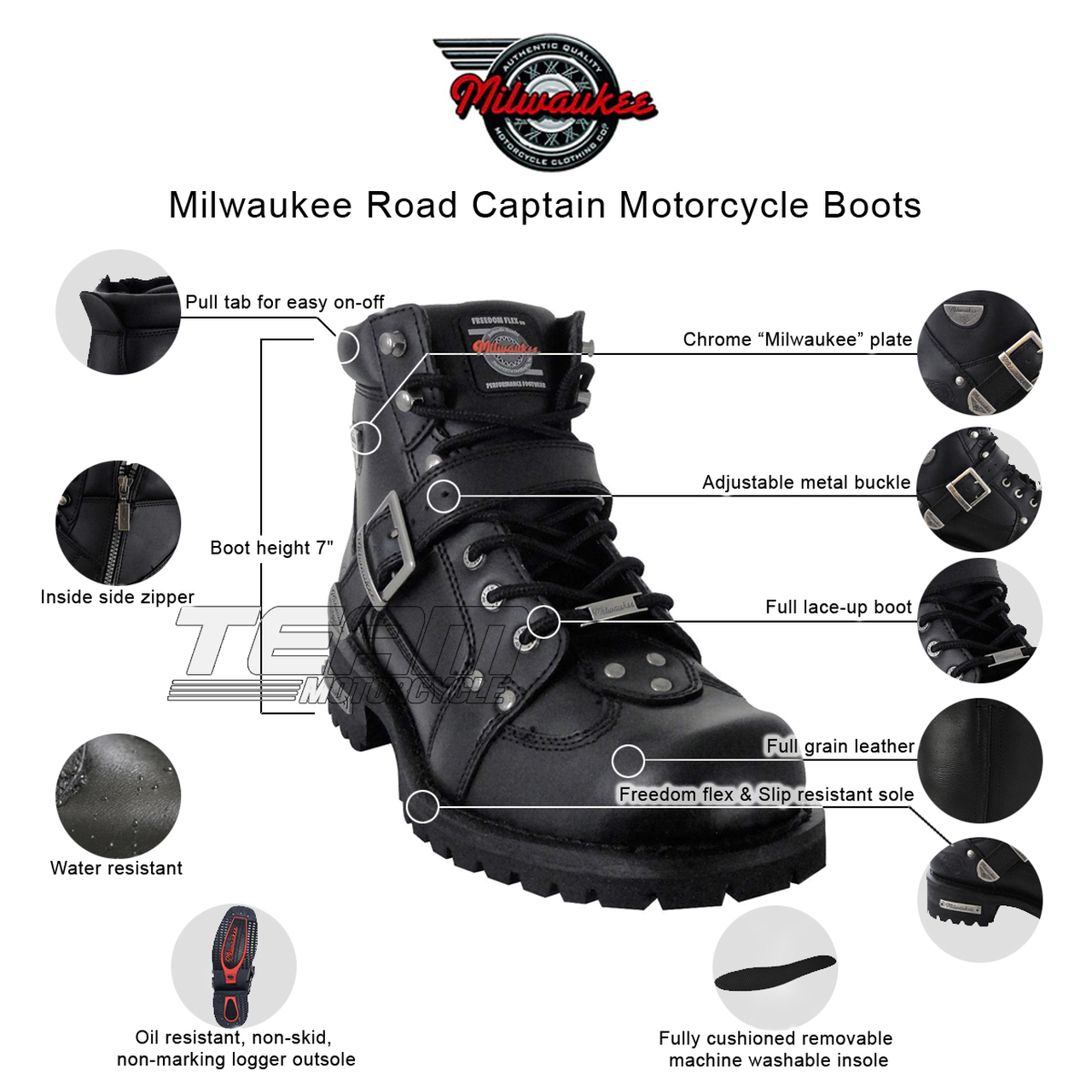 Size 8.5D Milwaukee Motorcycle Clothing Company Mens Road Captain Motorcycle Boots