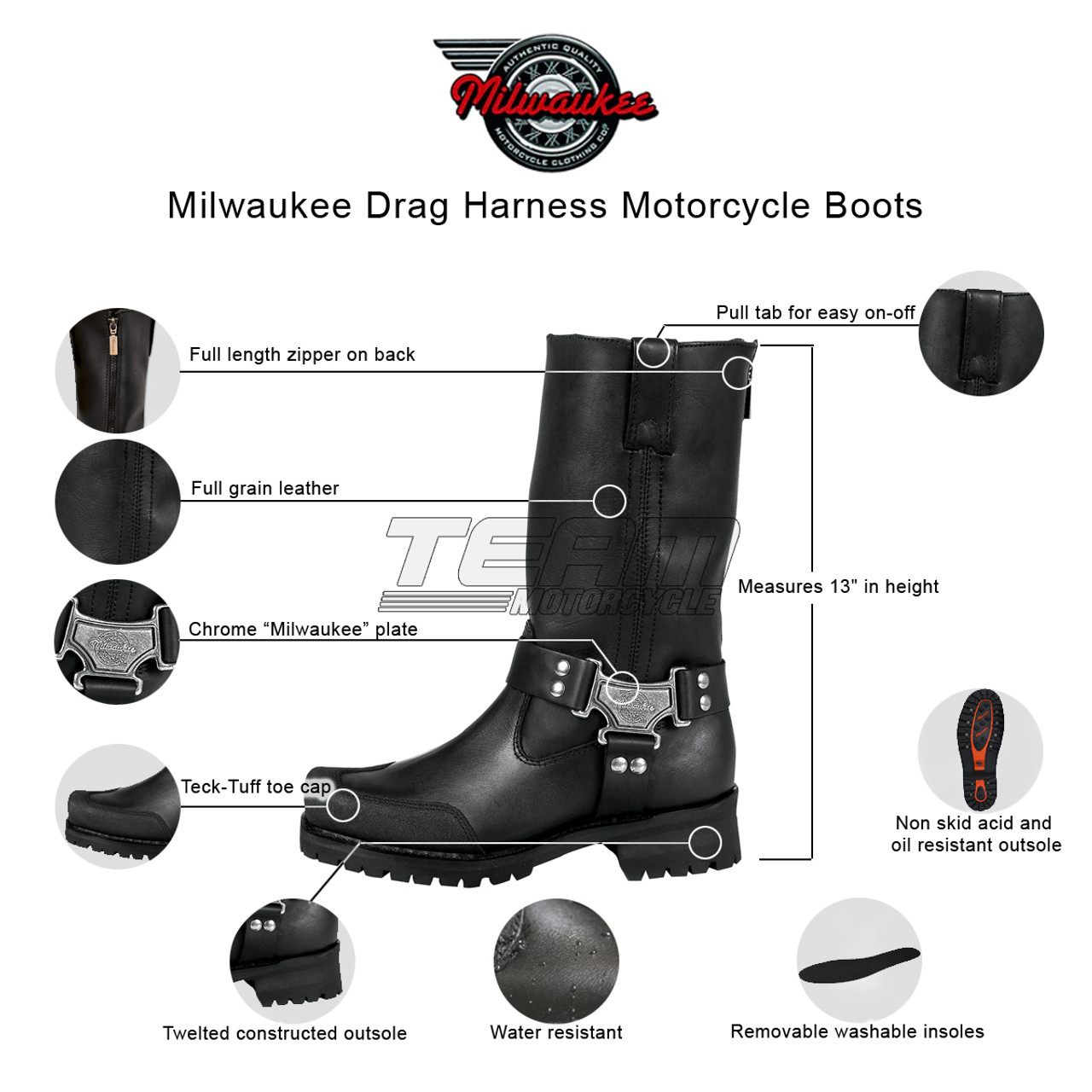 Black, Size 12W//11 Milwaukee Leather Mens Waterproof Harness Square Toe Boots