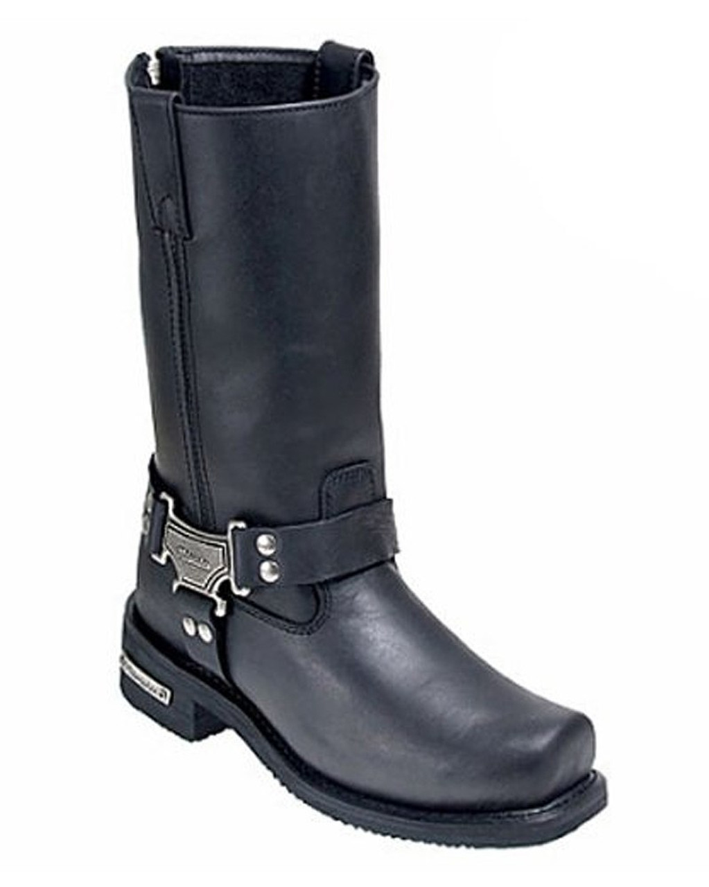 Milwaukee Mens Classic Harness Motorcycle Boots Black, Size 10.5