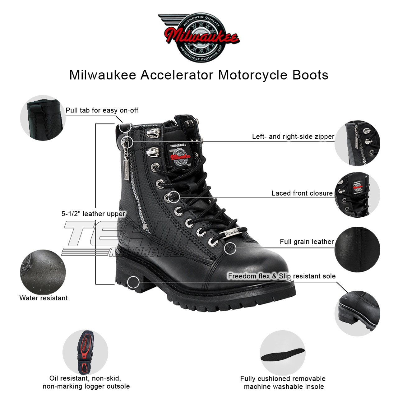 Black, Size 9D Milwaukee Motorcycle Clothing Company Accelerator Leather Mens Motorcycle Boots