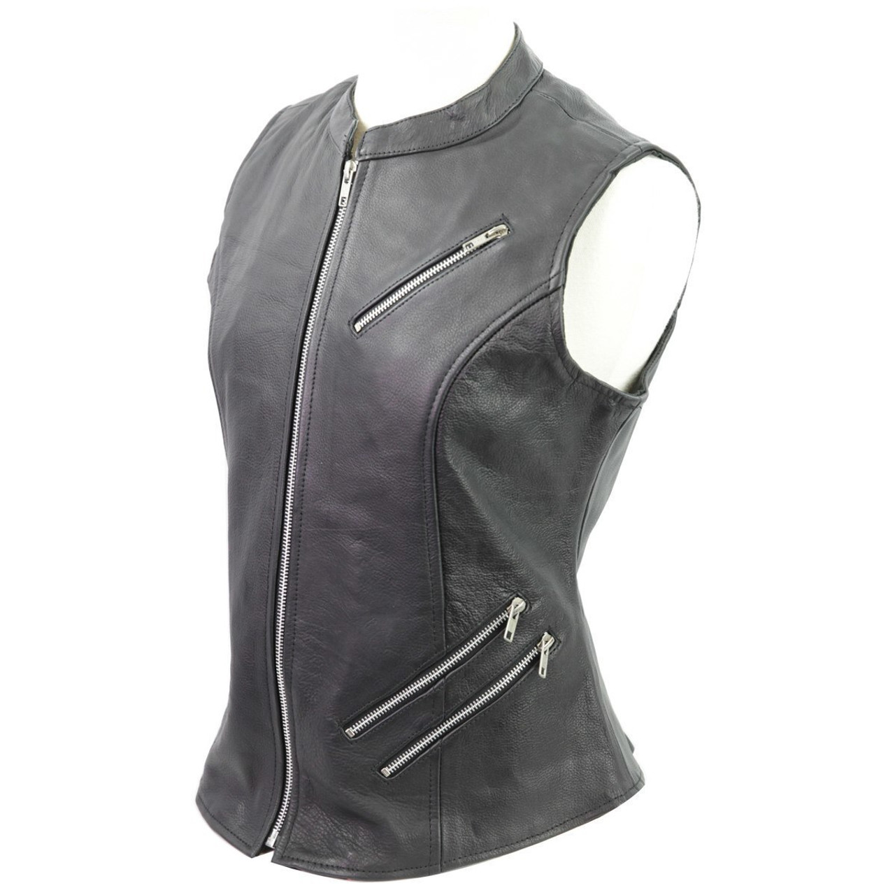 2XL Womens Motorcycle Riding Stylish Longer Body 3//4 Leather Vest