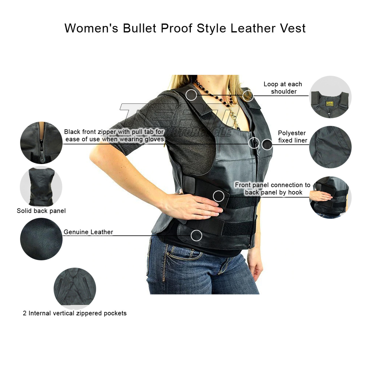 Les femmes Bullet Proof Style Moto Veste en véritable Buffalo en cuir pour motard clubs