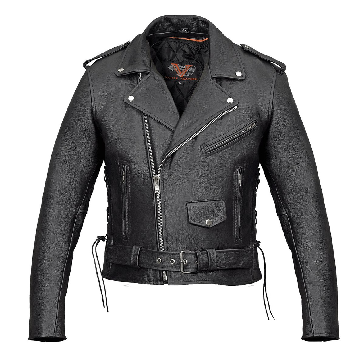 eec8df67ad9e Premium Leather Classic Motorcycle Jacket Lace Sides   Z O Liner ...