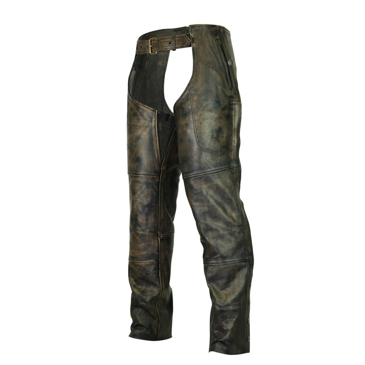 BROWN DISTRESSED LEATHER BIKER CHAPS XL