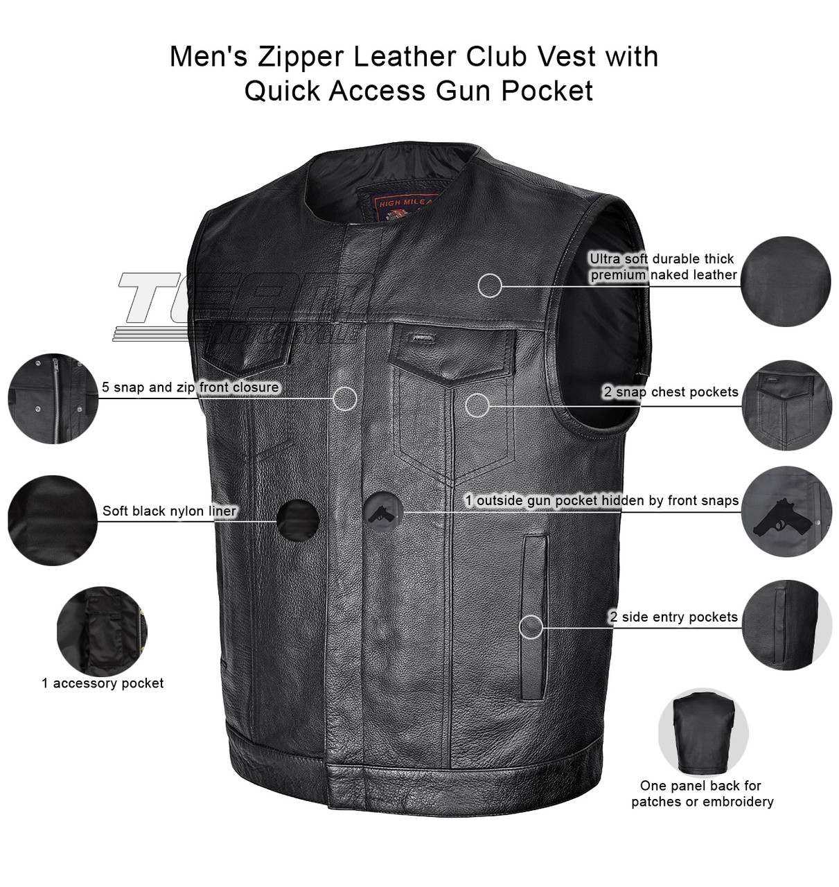 Men/'s Leather Side Lace Motorcycle Vest w// Dual Inside Gun Pockets 1 Panel Back