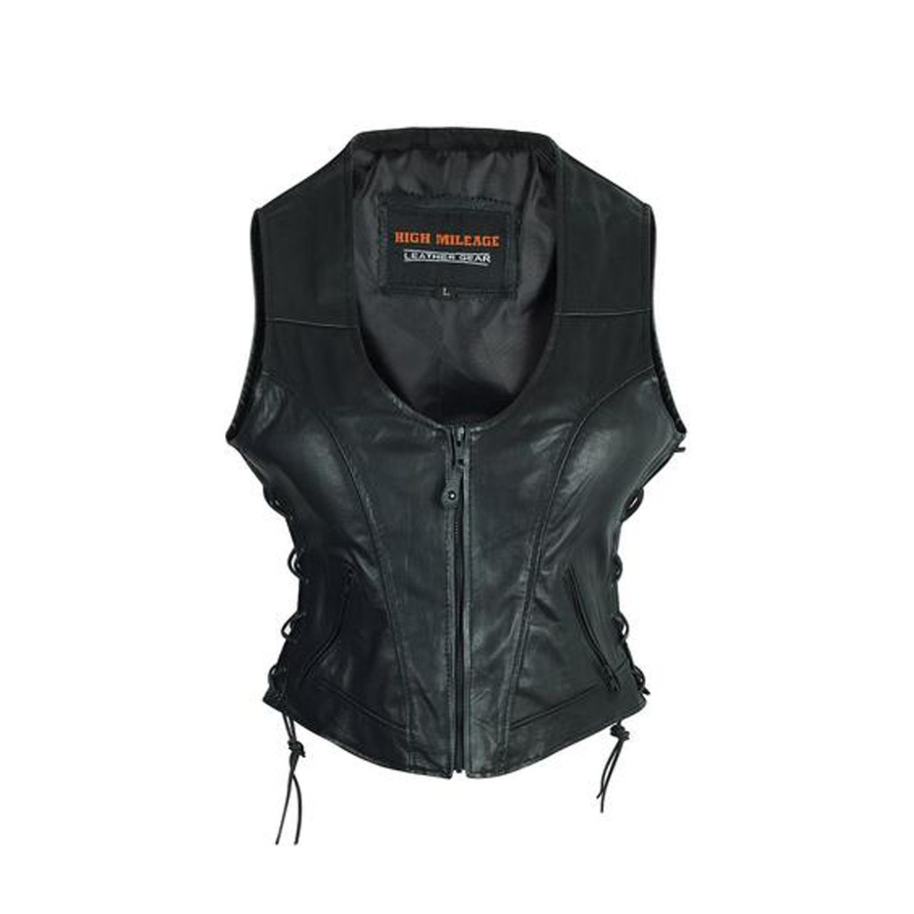 Ladies Leather Zip VEST Womens Soft Lambskin Laces Biker Motorcycle Grommets
