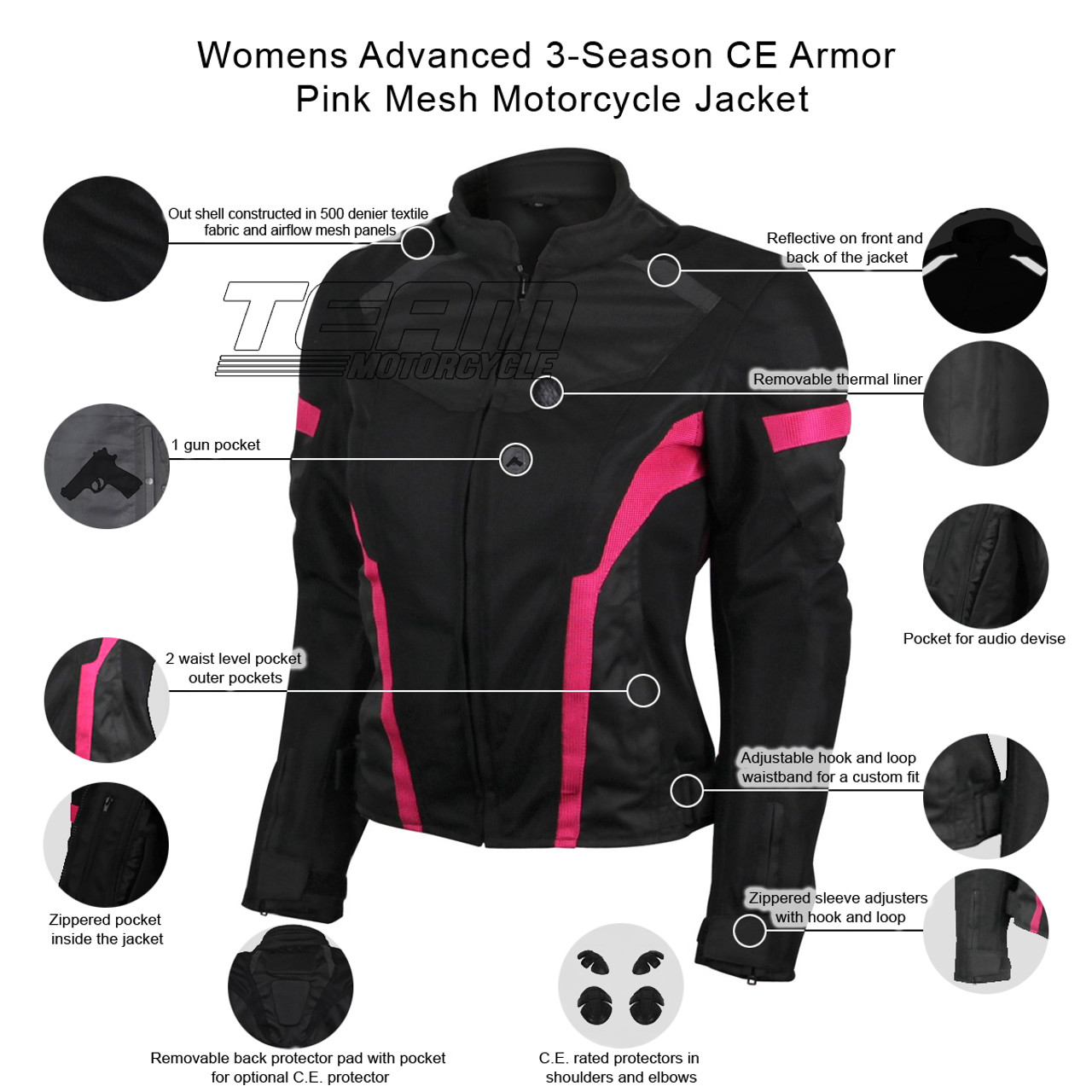 2XL Motorcycle Motorbike Jacket Textile Short Racing Style CE Armoured 44-46
