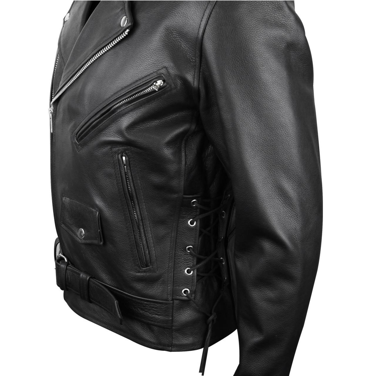 Men/'s Black Classic Side Laces Motorcycle Biker Leather Waistcoat vest