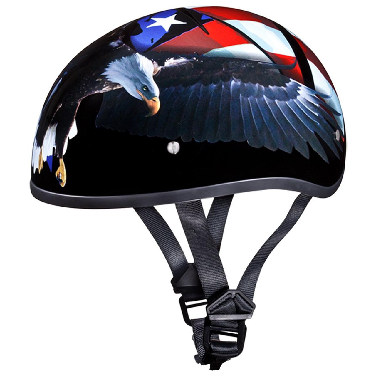 Daytona Skull Cap Freedom Eagle Flag Half Helmet Gloss Black DOT XS-2XL