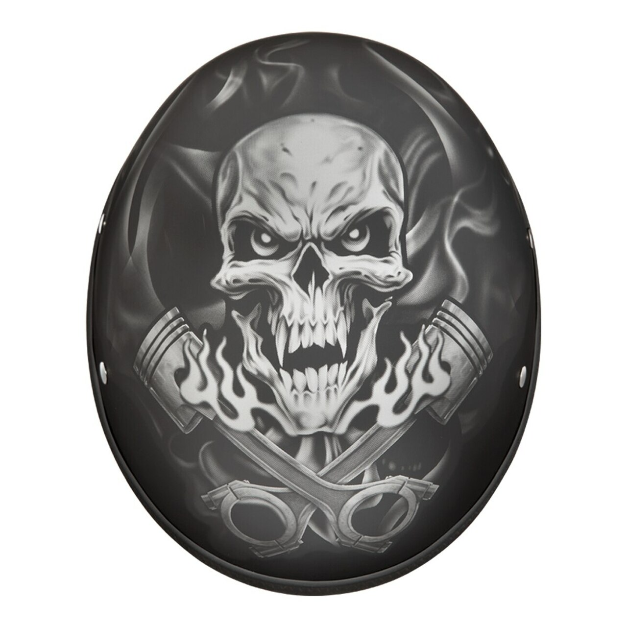 Daytona Skull Cap Pistons Skull Half Helmet Dull Black DOT XS-2XL