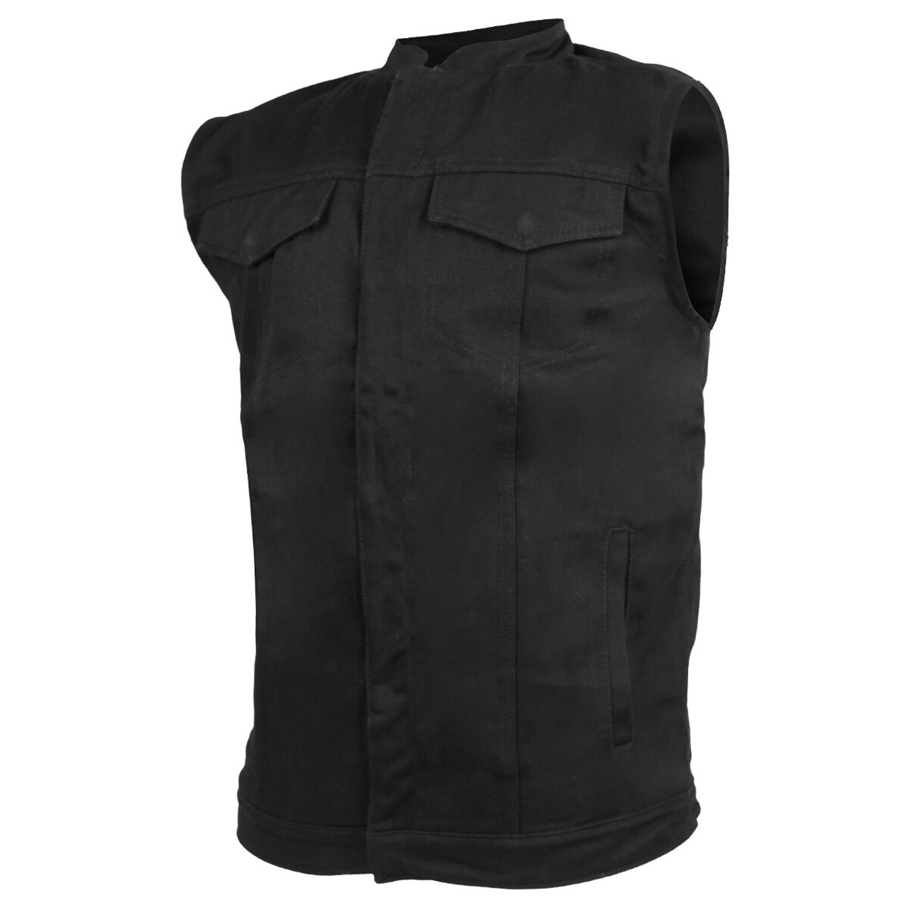 Motorcycle Leather vest for Men Snap and Zip Front Club Style Vest LV-55 L