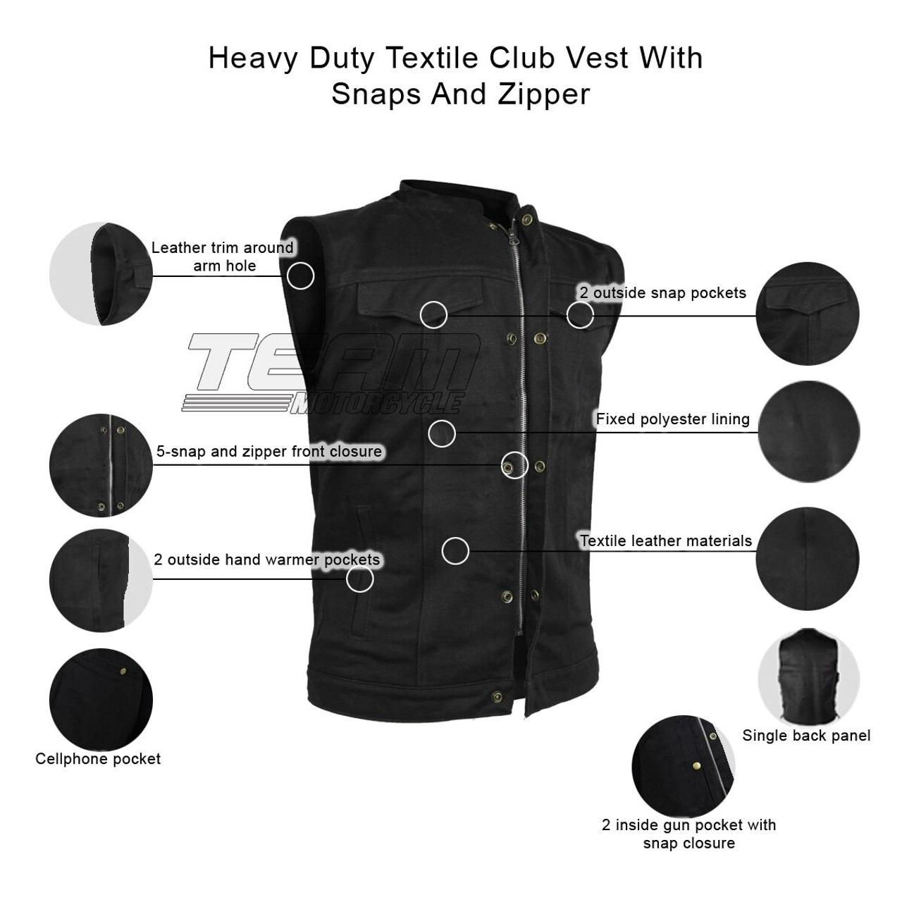 Collarless Biker Apparel SOA Mens Black Leather Motorcycle Vest W//Gun Pockets Side Lace Genuine Cowhide Leather Collar Collar, Small Hidden Zipper /& Snaps Patch Access Lining