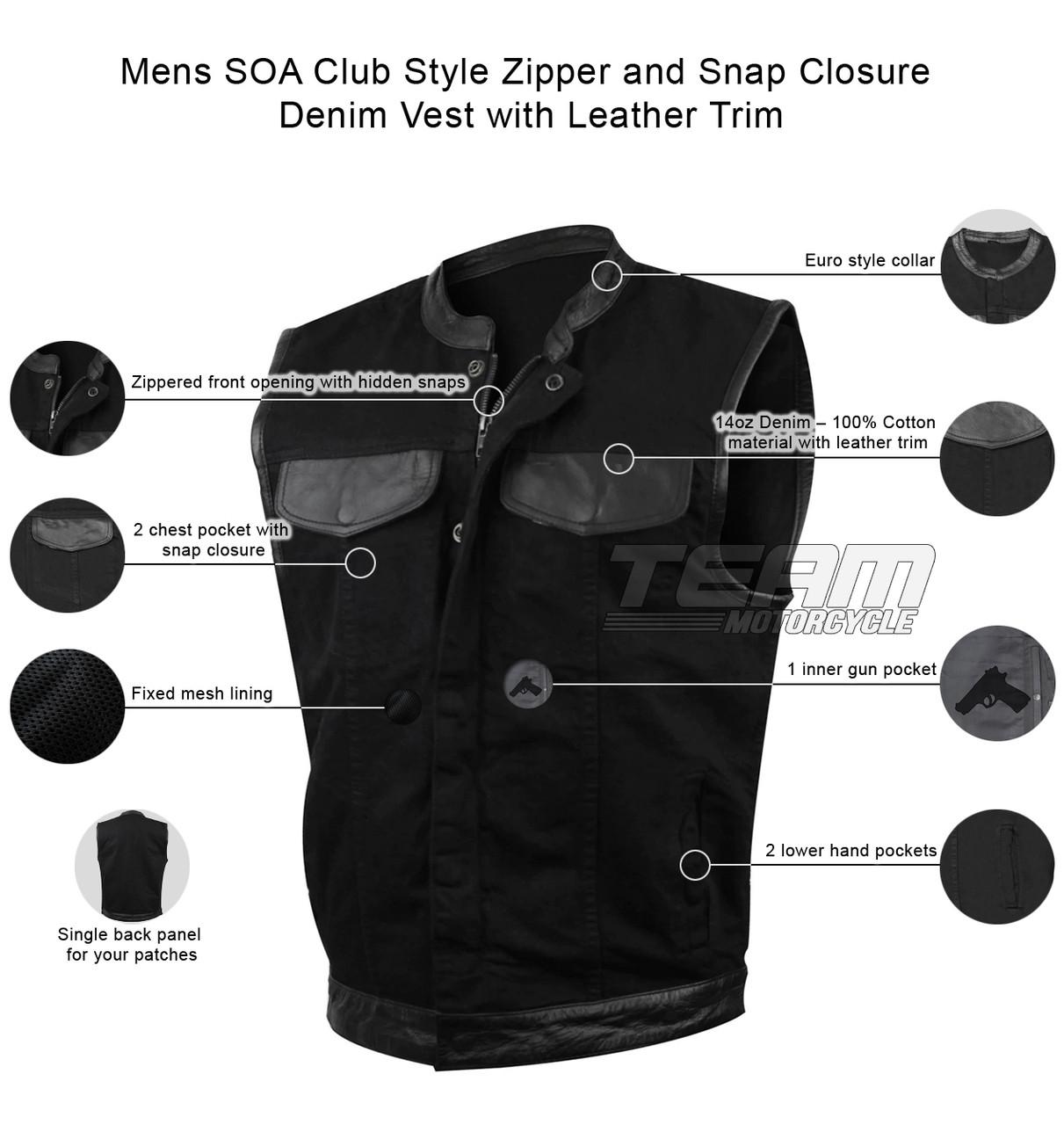 SOA Mens Black or Blue Denim Biker Vest for Clubs w// 1 Gun Pocket /& Snap Front