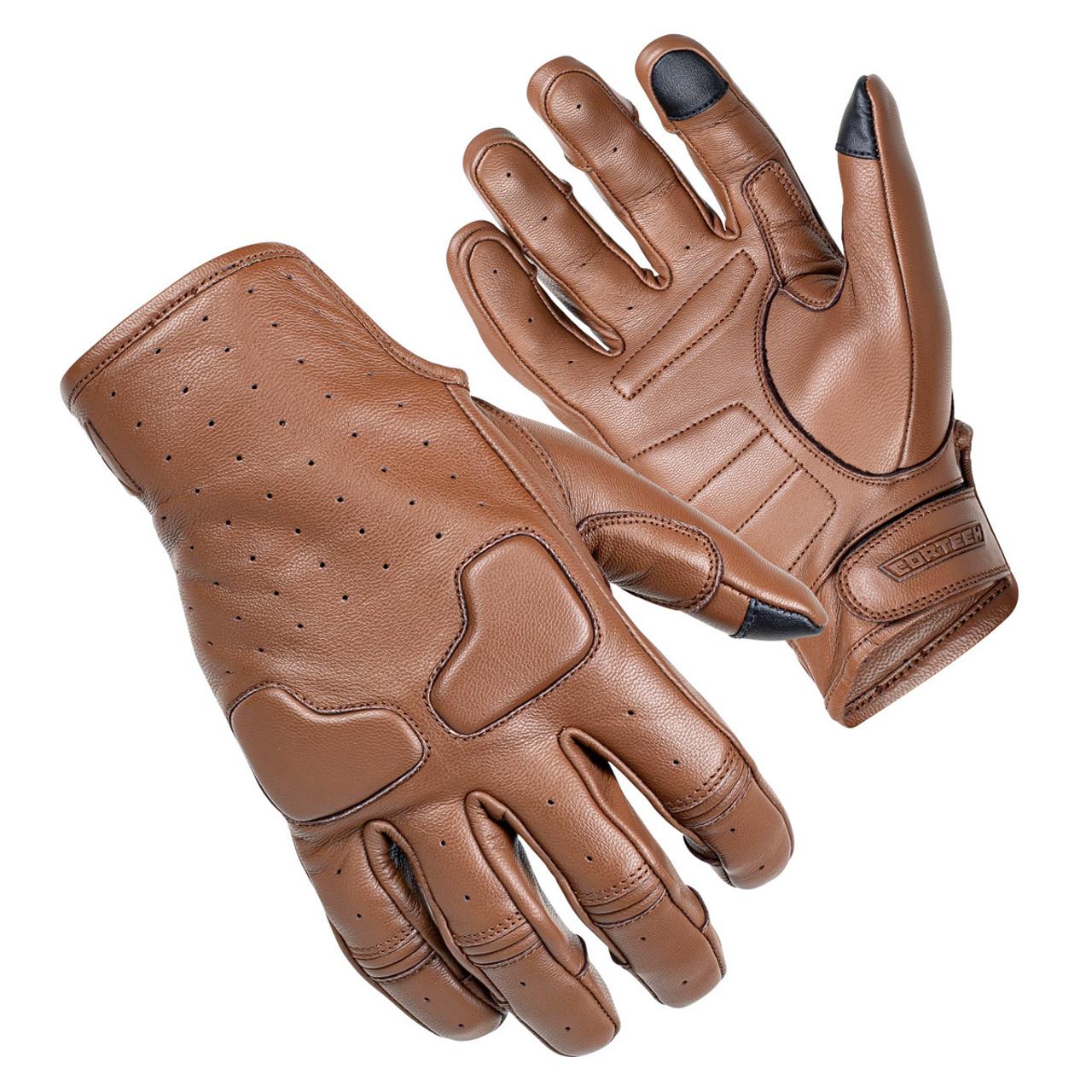 Men's reflective skull leather driving glove