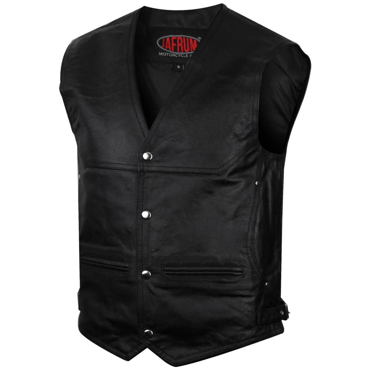 Ladies Black Leather Zipper Front Side Buckled Vest w// Low Cut V Neck Gun Pocket