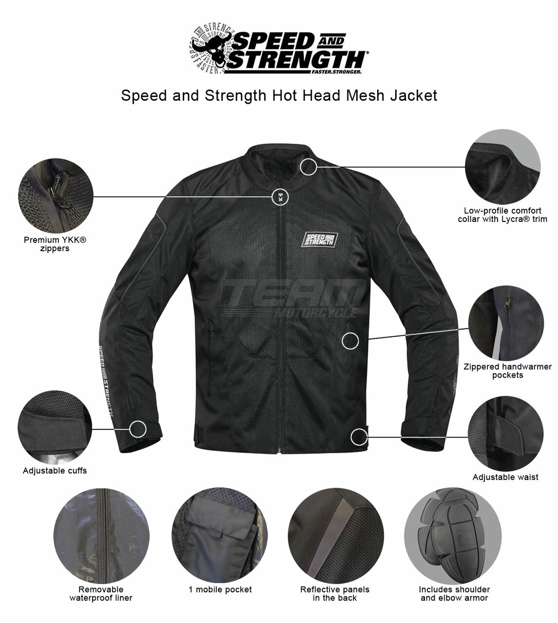 4XL Highway 21 Men/'s TURBINE Mesh Motorcycle Jacket w//Removable Liner Black